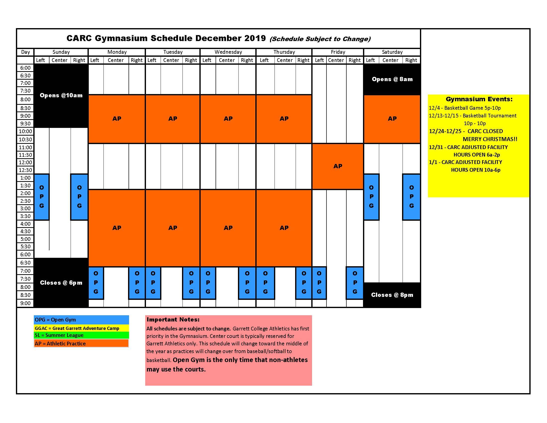 CARC Schedule
